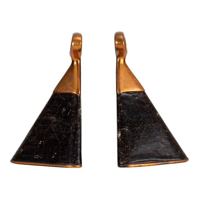 Pair of Copper and Leather Bookends by Ben Seibel for Raymor For Sale