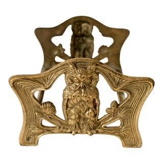 Vintage Brass Owl Book Holder For Sale