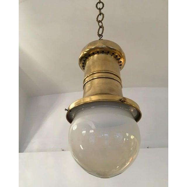 Gold Antique Art Nouveau department store hanging lamp For Sale - Image 8 of 10