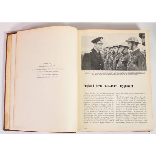 1942-1945 Vintage World War II Red & Leather Bound Swedish Books - Set of 5 For Sale - Image 4 of 6