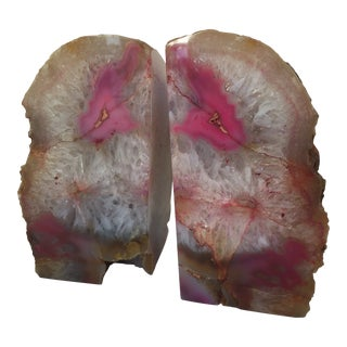 Pink Agate Geode Polished Bookends - a Pair For Sale