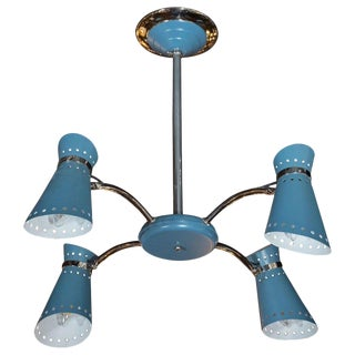 Mid-Century Modern Four-Arm Chrome and Cerulean Blue Enamel Chandelier For Sale