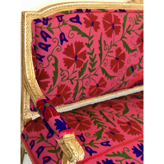 Fabric French Boho Settee For Sale - Image 7 of 13