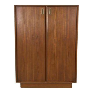 Danish Modern Teak Wardrobe/Gentleman's Chest For Sale