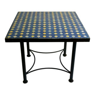 19th Century Moroccan Mosiac Tile Table For Sale