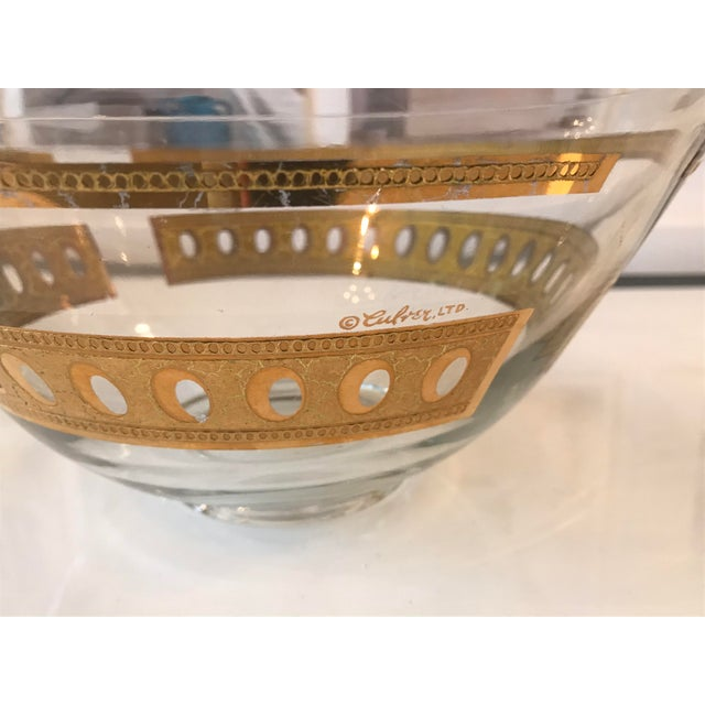 Mid-Century Modern Culver Ltd Glass Ice Bucket/ Punch Bowl With Matching Glasses For Sale In Miami - Image 6 of 11