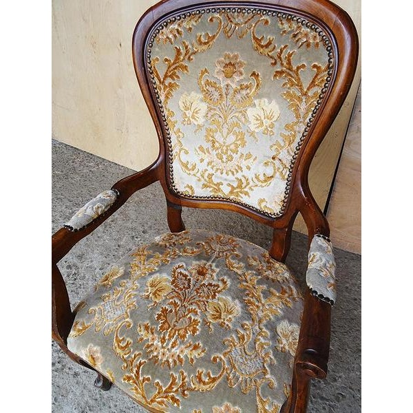 Antique Elegant French Louis XV Style Original Floral Upholstery Walnut Armchair For Sale - Image 11 of 13