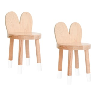 Nico & Yeye Lola Kids Chair Solid Maple and Maple Veneers White - Set of 2 For Sale
