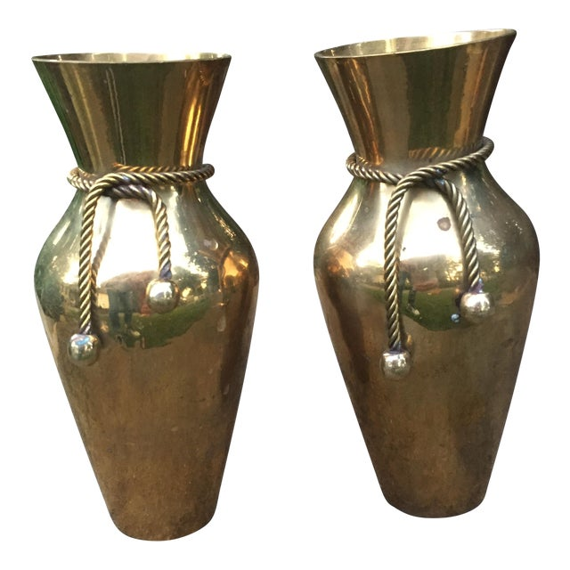 Vintage Brass Vases With Rope Tie A Pair Chairish