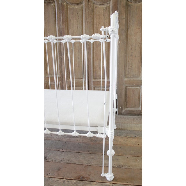 19th Century Shabby Chic Painted White Iron Crib Baby Bed For Sale - Image 4 of 13