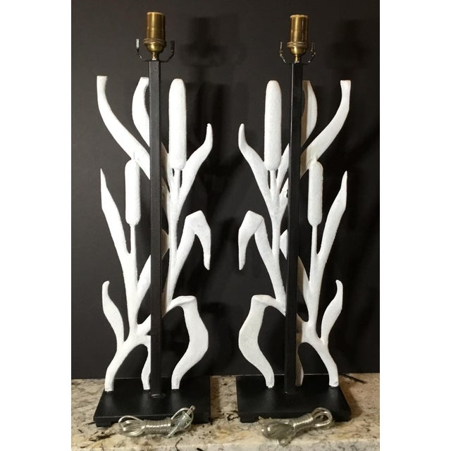Abstract Cattail Iron Table Lamps - a Pair For Sale - Image 10 of 12