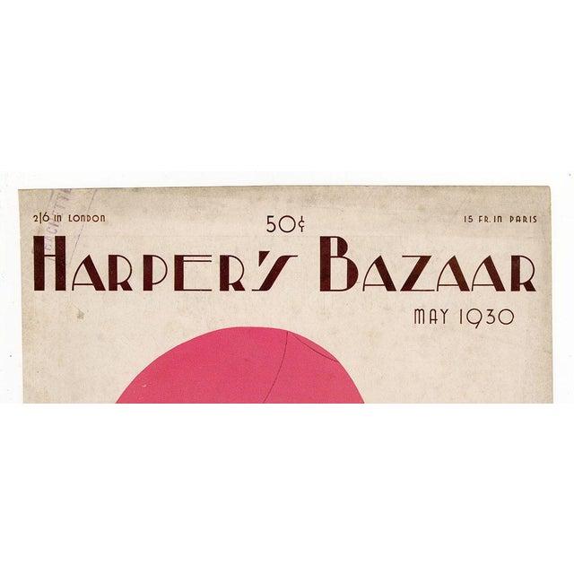 "Art Deco ""Harper's Bazaar, May 1930."" Original Vintage Fashion Magazine Cover For Sale - Image 3 of 5"