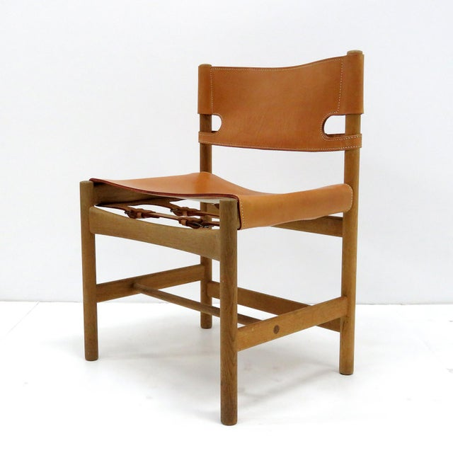 Wonderful set of six Børge Mogensen 'Hunting' chairs, model no. 3237 for Fredericia Furniture, with saddle leather on oak...