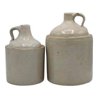 Antique Stoneware Farmhouse Crock Jugs - a Pair For Sale