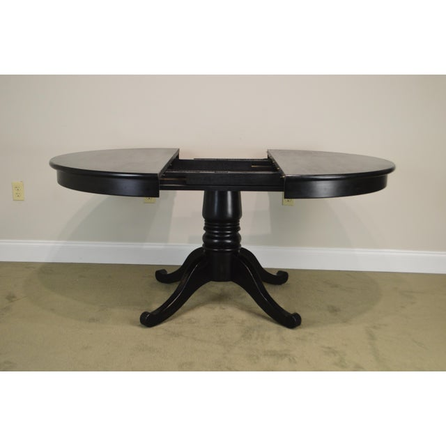 Crate Barrel Black Round Pedestal Dining Table W Leaf Chairish