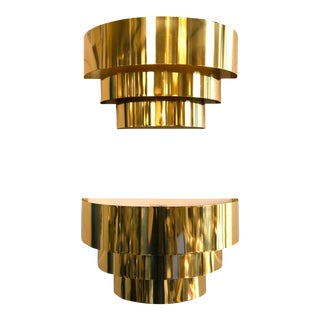Vintage Tiered Brass Sconces - A Pair For Sale