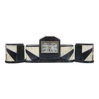 Antique French Art Deco Marble Garniture Desk Set Mantel Clock Bookends - Set of 3 For Sale