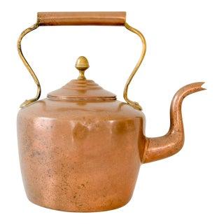 Large Antique Copper & Brass Teapot Kettle