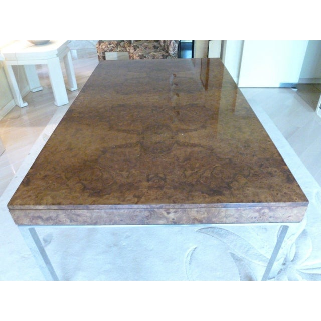 1970s 1970's Vintage Milo Baughman Style Burl-wood & Chrome Dining Table For Sale - Image 5 of 13