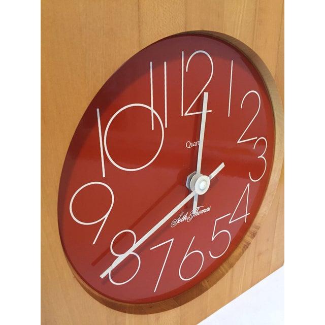 Seth Thomas Clock Company Vintage Enamel Butcher Block Seth Thomas Clock For Sale - Image 4 of 7