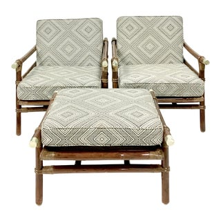 1950's Ficks Reed Rattan & Brass Sofa Set