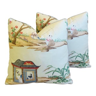 """Gp & J Baker Chinoiserie Floating Pavilion Feather/Down Pillows 19"""" Square - Pair For Sale"""