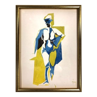 Vintage French Nude Watercolor Painting