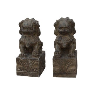 Chinese Small Pair Distressed Black Gray Stone Fengshui Foo Dogs Statues For Sale