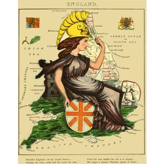 1869 Geographical Fun: England in the Form of Queen Victoria For Sale