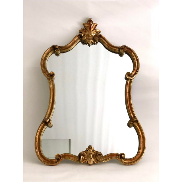 Glass Gold Leaf Carved Mirror For Sale - Image 7 of 7