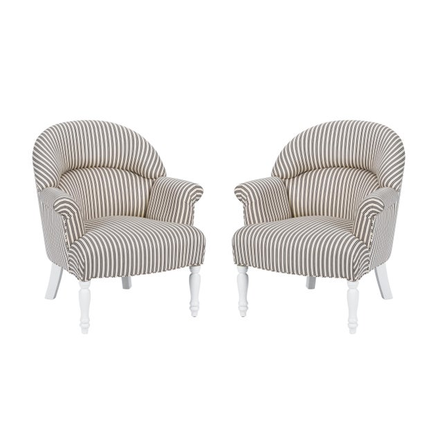 Black Casa Cosima Napoleon III Chair in Black and Ivory Ticking, a Pair For Sale - Image 8 of 8