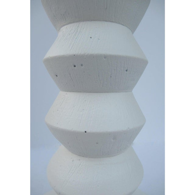1970s Vintage Mid-Century Modern Plaster Zig-Zag Tiered Lamp For Sale - Image 5 of 13