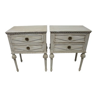 20th Century Swedish Gustavian 2-Drawer Nightstands - a Pair
