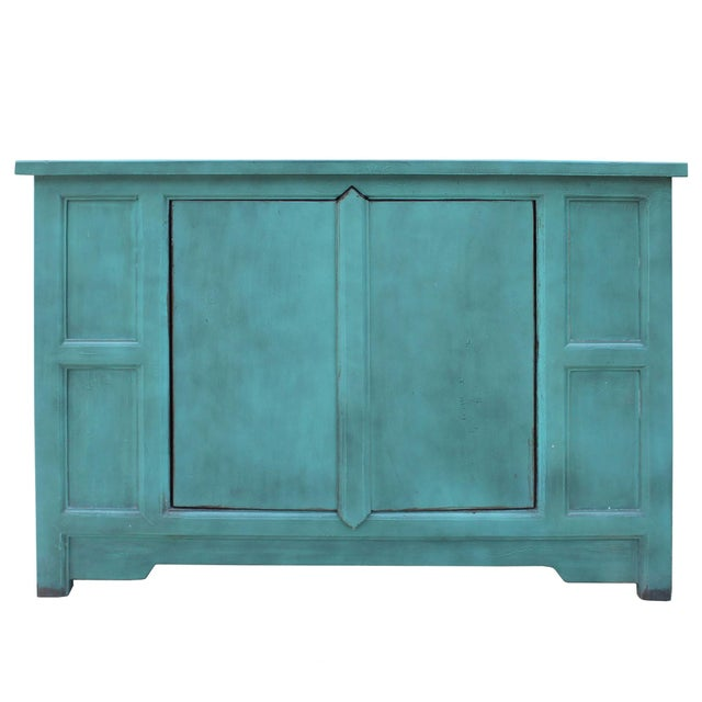 Blue Simple Shabby Chic Rustic Light Blue Low Credenza Cabinet For Sale - Image 8 of 8