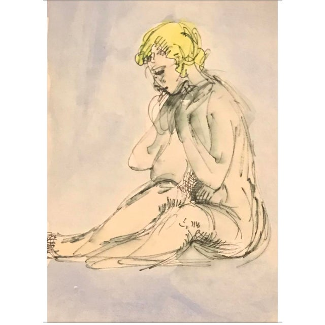 Seated Female Nude Watercolor 1970s For Sale - Image 4 of 4
