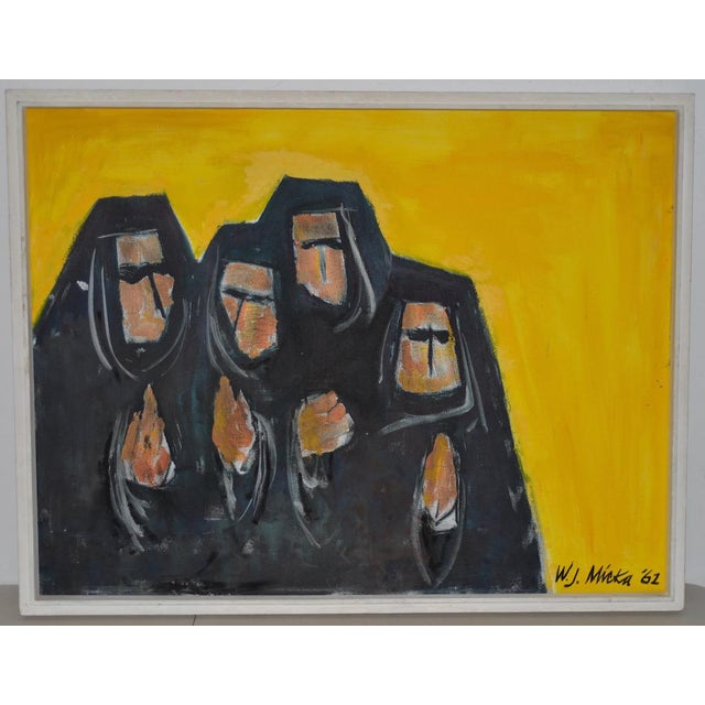 """Vintage """"Good Habits"""" Oil Painting by W.J. Micka C.1962 For Sale - Image 10 of 10"""