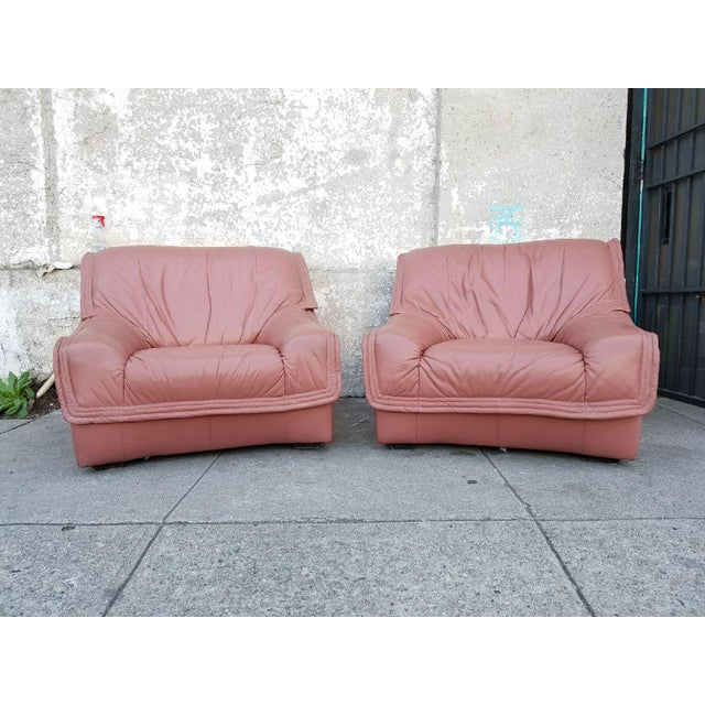 Dusty Rose Leather Lounge Chairs & Ottomans - 2 Pair | Chairish