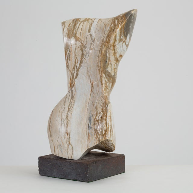 Marble Abstract Torso Sculpture on Stone Mount For Sale - Image 7 of 12
