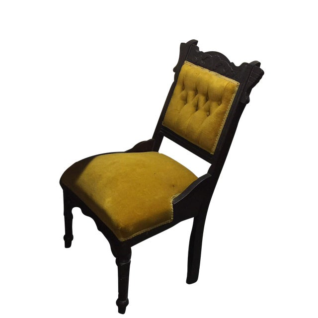 Antique Tufted Yellow Wooden Chair - Image 1 of 9