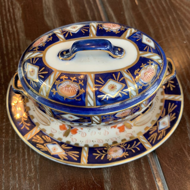 Imari Porcelain Vintage Japanese Imari Hokutosha Trinket Tureen With Tray For Sale - Image 4 of 12