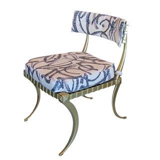 1960s Vintage Thinline Fabric Klismos Chair For Sale