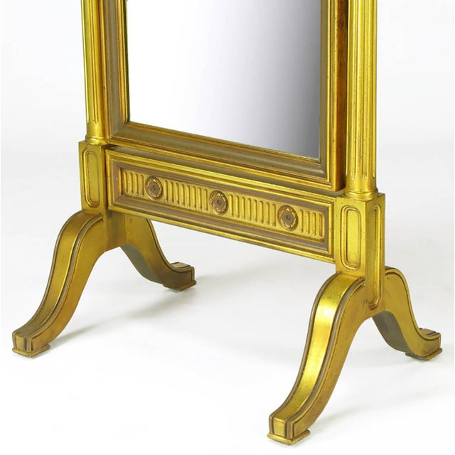 Gilt Wood Neoclassical Full Length Cheval Floor Mirror - Image 8 of 8