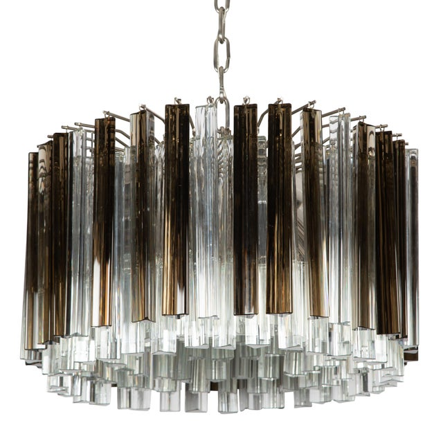 1970's VINTAGE MURANO SMOKE AND CLEAR PRISM CHANDELIER, For Sale - Image 13 of 13