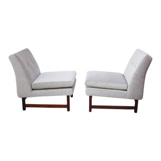 Pair of Norwegian LK Hjelle Slipper Chairs in Chenille and Rosewood