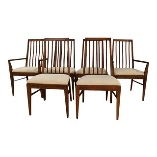 1960s Lane First Edition Mid Century Walnut Spindle Back Dining Chairs - Set of 6 For Sale