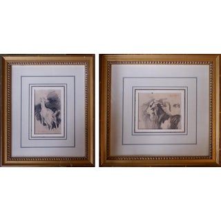 Goat Drawings by Alex Cabanel - a Pair, Framed For Sale