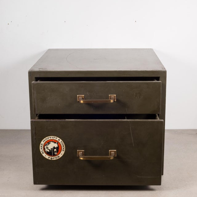 Mid 20th Century Industrial Factory Two Drawer Cabinet With Brass Pulls C.1940 For Sale - Image 5 of 12
