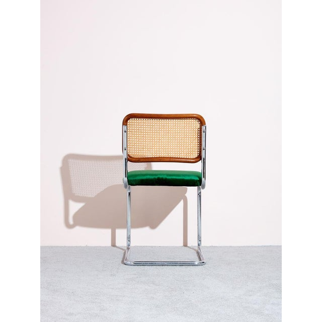 """Vintage """"Cesca Chair"""" designed by Marcel Breuer. Reupholstered seats in deep emerald green velvet. Six available, sold..."""