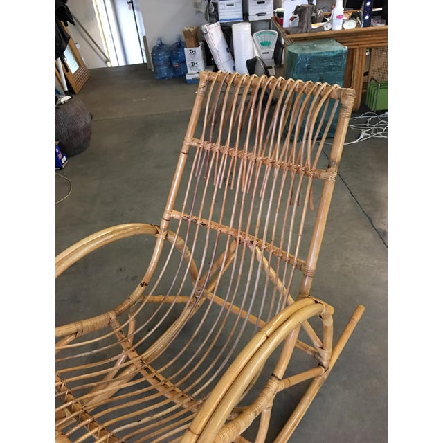 Restored Oversized Stick Rattan Rocking Chair in the Style of Franco Albini For Sale - Image 10 of 12