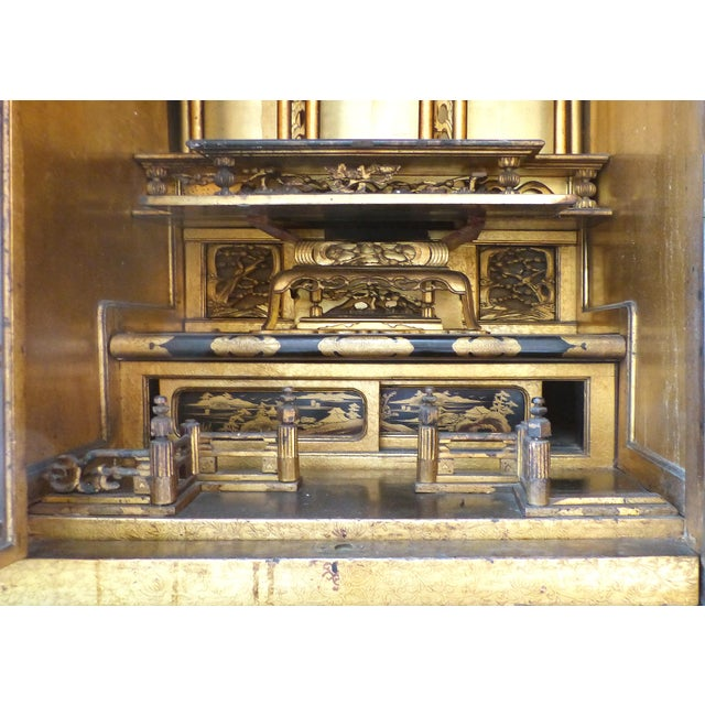 Antique Monumental Japanese Buddhist Temple on Stand For Sale - Image 4 of 8